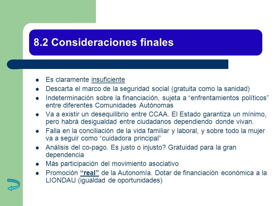 8.2 Consideraciones finales