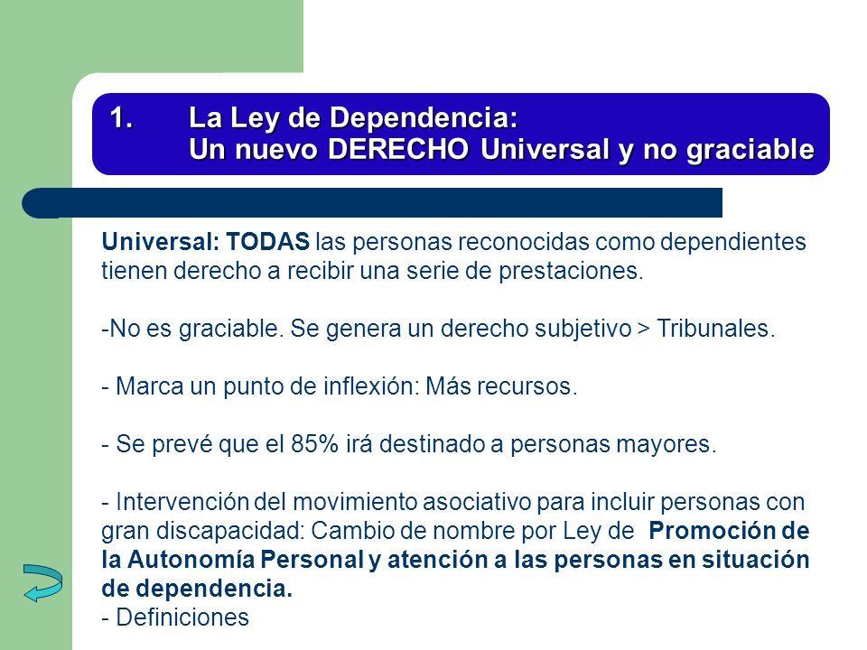 1. La Ley de Dependencia: Un nuevo DERECHO Universal y no graciable