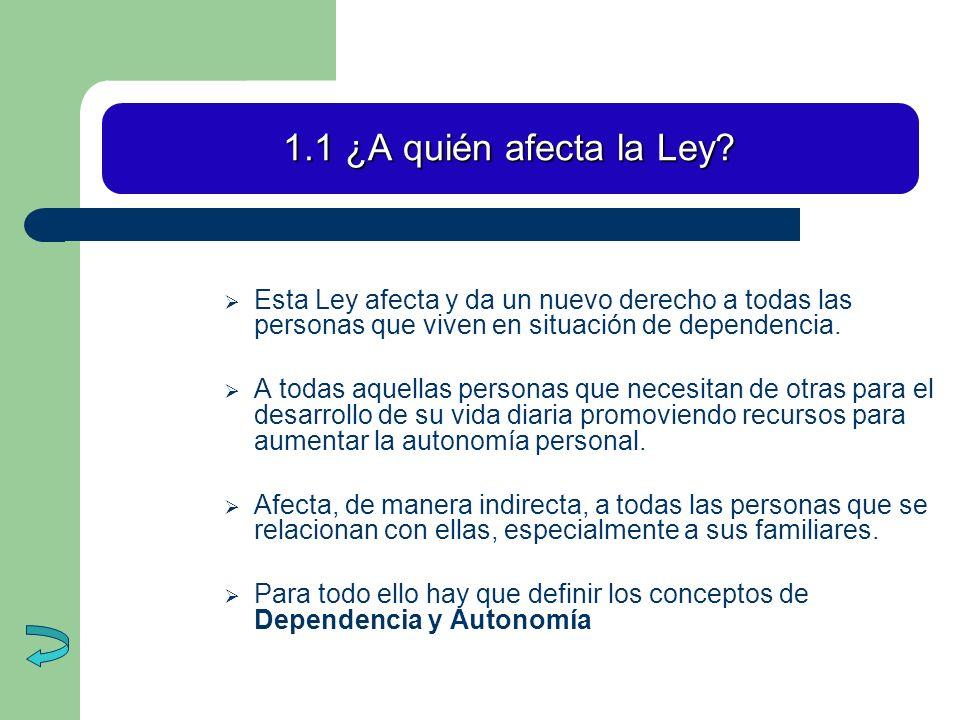 1.1 ¿A quién afecta la Ley Esta Ley afecta y da un nuevo derecho a todas las personas que viven en situación de dependencia.