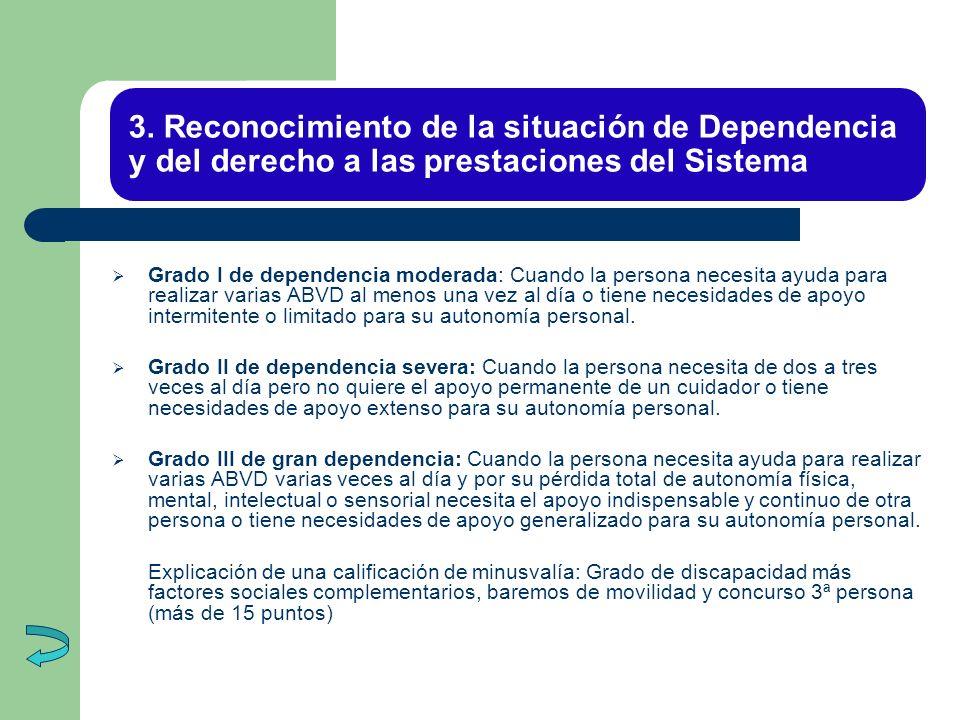 3. Reconocimiento de la situación de Dependencia y del derecho a las prestaciones del Sistema