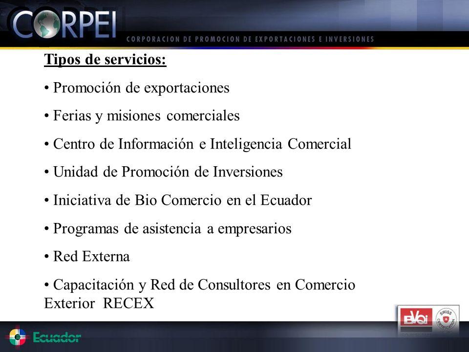 Tipos de servicios: Promoción de exportaciones. Ferias y misiones comerciales. Centro de Información e Inteligencia Comercial.