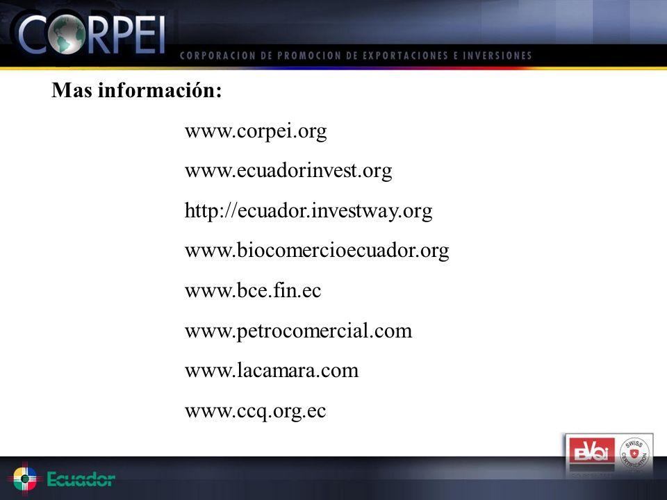 Mas información: www.corpei.org. www.ecuadorinvest.org. http://ecuador.investway.org. www.biocomercioecuador.org.
