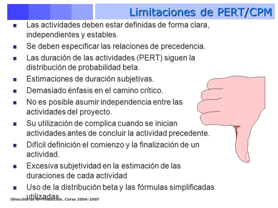 Limitaciones de PERT/CPM