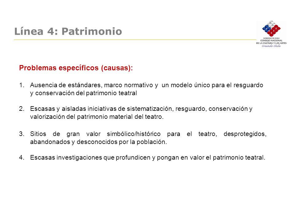 Línea 4: Patrimonio Problemas específicos (causas):