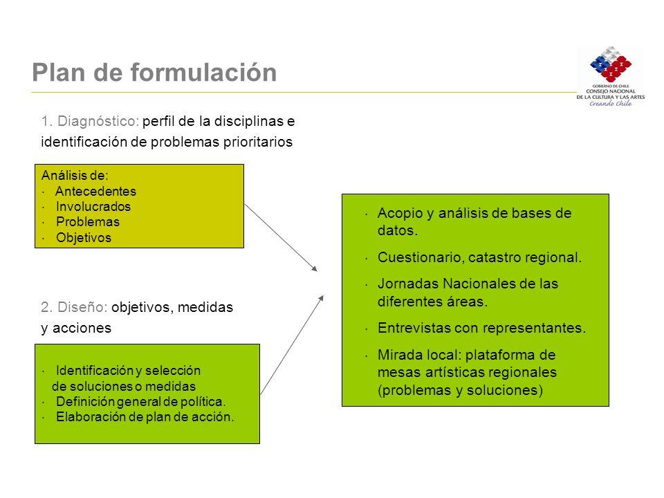 Plan de formulación 1. Diagnóstico: perfil de la disciplinas e
