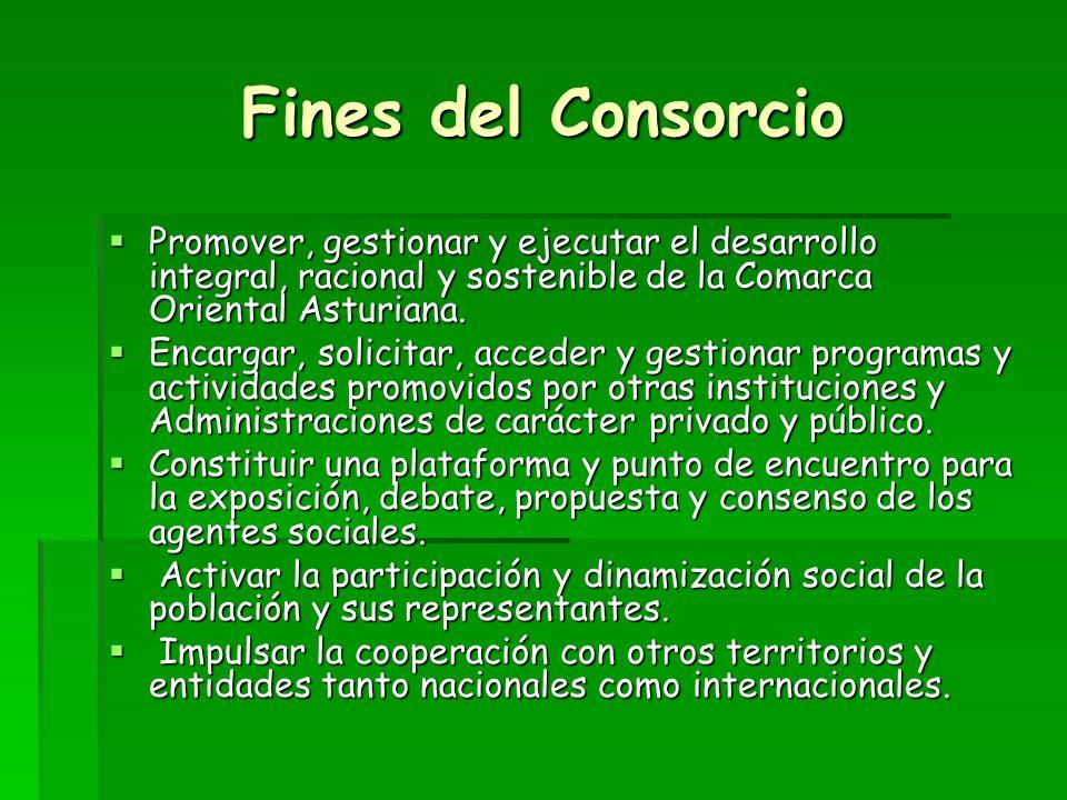 Fines del Consorcio Promover, gestionar y ejecutar el desarrollo integral, racional y sostenible de la Comarca Oriental Asturiana.
