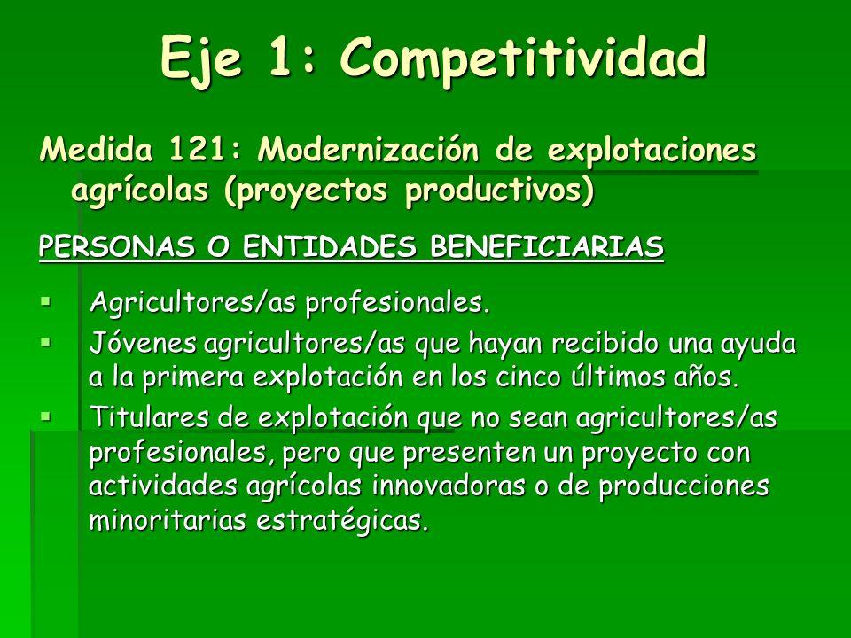 Eje 1: Competitividad Medida 121: Modernización de explotaciones agrícolas (proyectos productivos)
