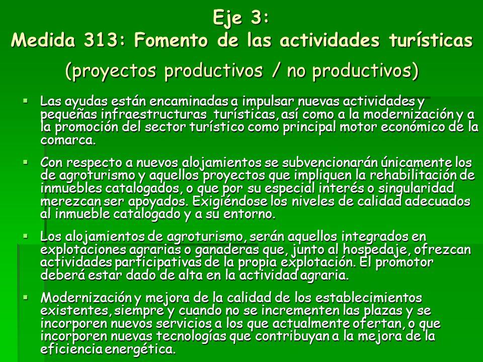 Eje 3: Medida 313: Fomento de las actividades turísticas (proyectos productivos / no productivos)