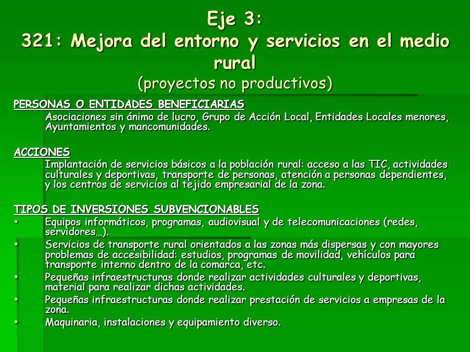 Eje 3: 321: Mejora del entorno y servicios en el medio rural (proyectos no productivos)