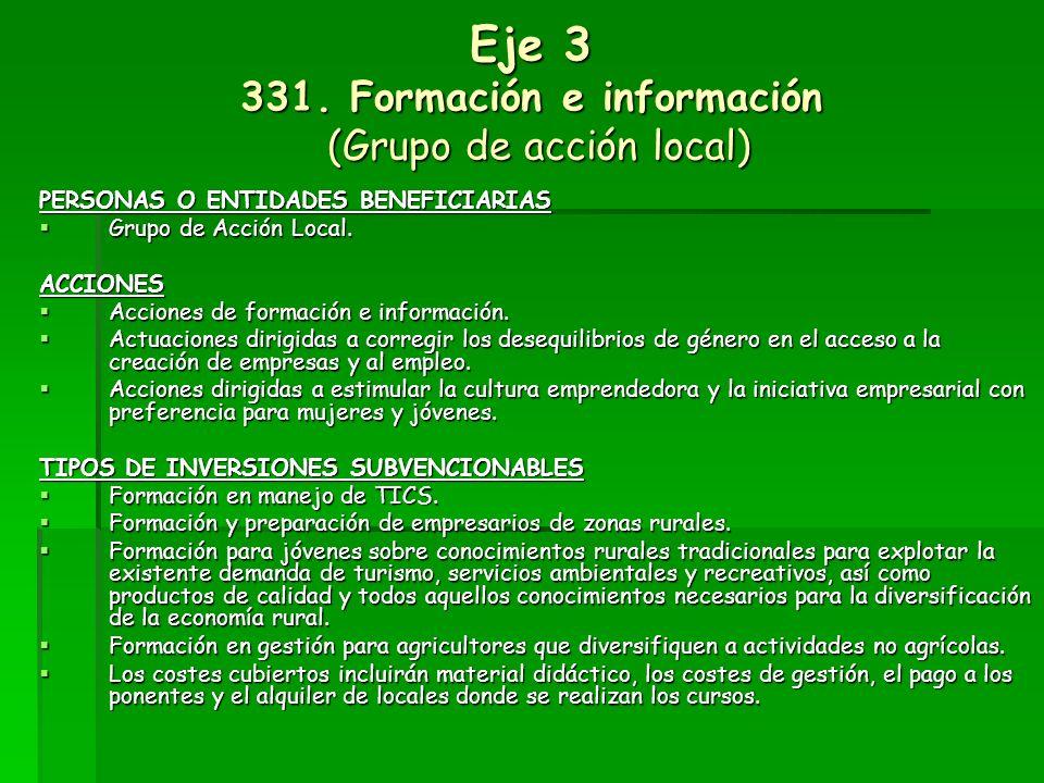 Eje 3 331. Formación e información (Grupo de acción local)