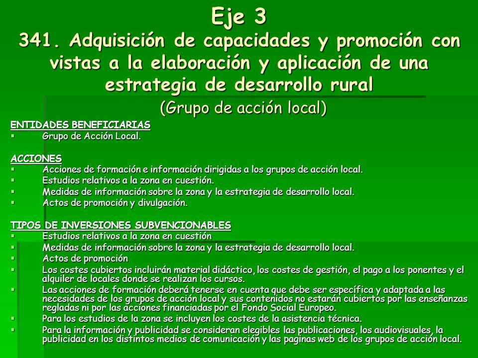 Eje 3 341. Adquisición de capacidades y promoción con vistas a la elaboración y aplicación de una estrategia de desarrollo rural (Grupo de acción local)