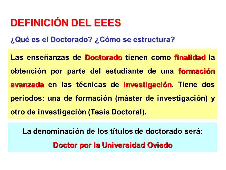 DEFINICIÓN DEL EEES ¿Qué es el Doctorado ¿Cómo se estructura