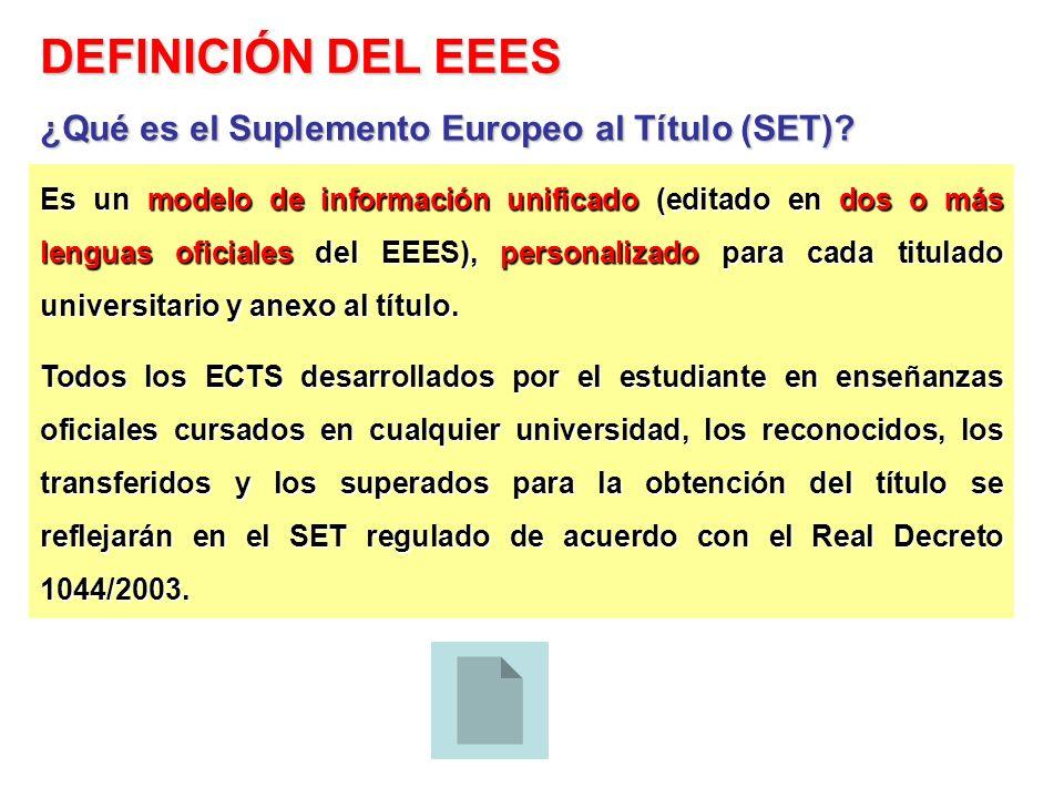 DEFINICIÓN DEL EEES ¿Qué es el Suplemento Europeo al Título (SET)
