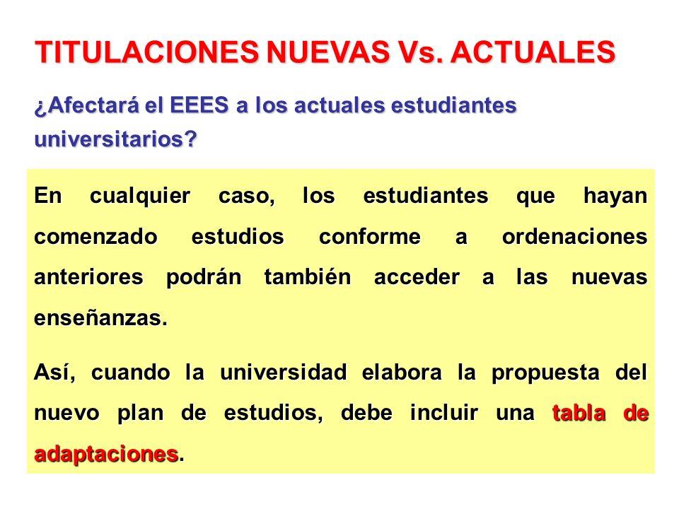 TITULACIONES NUEVAS Vs. ACTUALES
