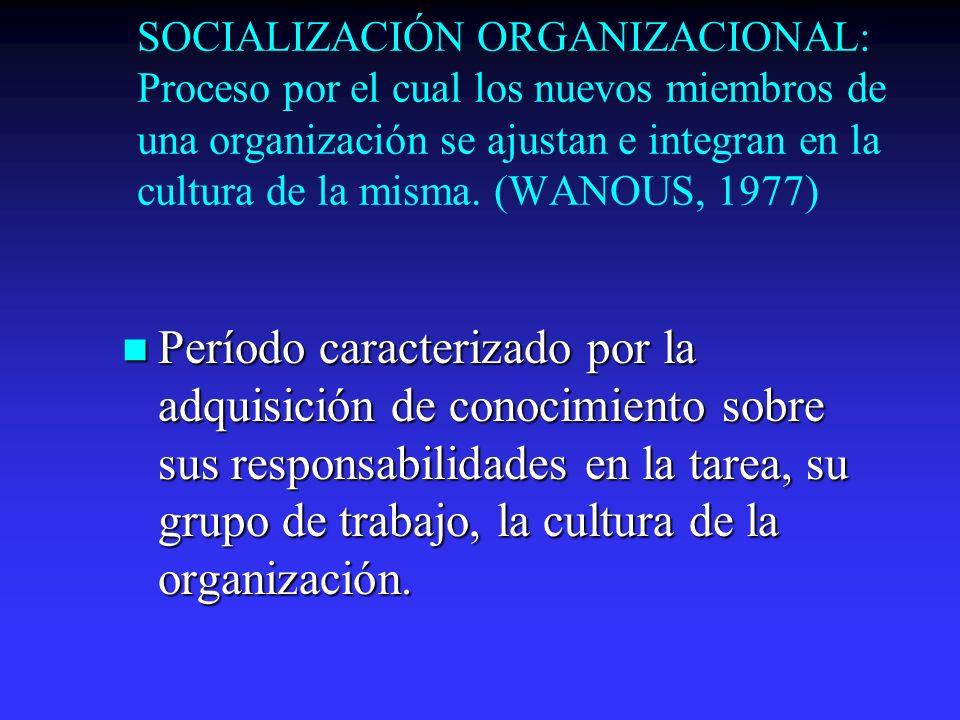 SOCIALIZACIÓN ORGANIZACIONAL: Proceso por el cual los nuevos miembros de una organización se ajustan e integran en la cultura de la misma. (WANOUS, 1977)