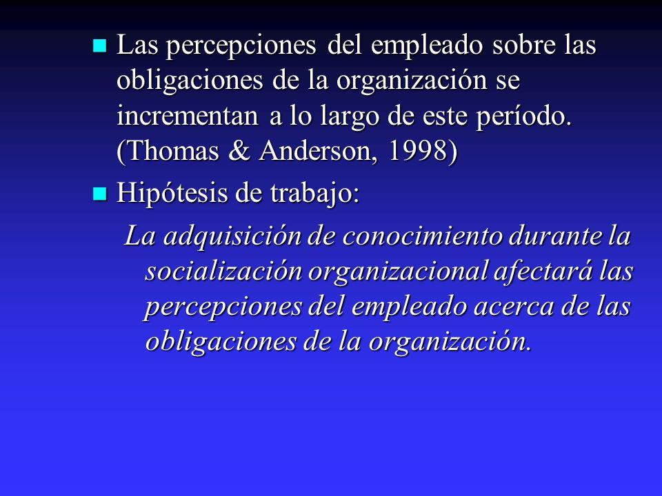 Las percepciones del empleado sobre las obligaciones de la organización se incrementan a lo largo de este período. (Thomas & Anderson, 1998)