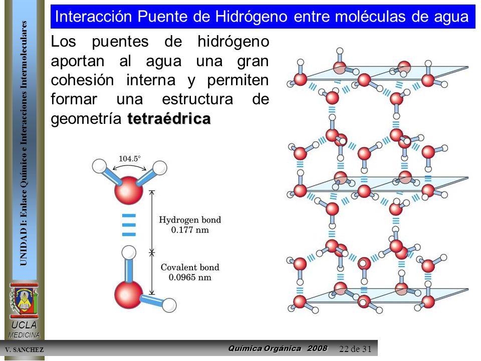 Interacción Puente de Hidrógeno entre moléculas de agua