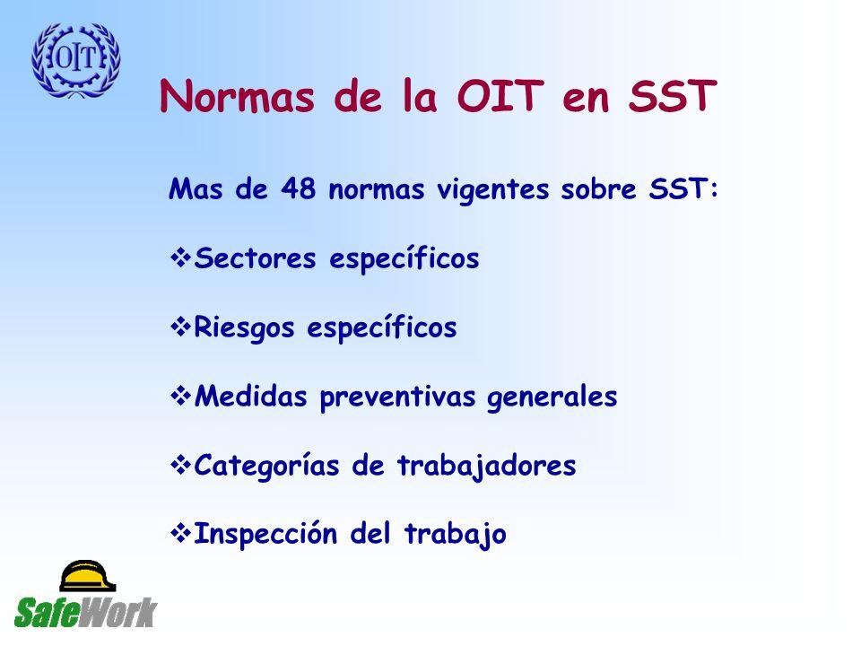 Normas de la OIT en SST Mas de 48 normas vigentes sobre SST: