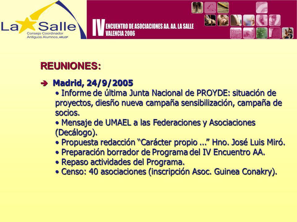 REUNIONES:  Madrid, 24/9/2005.