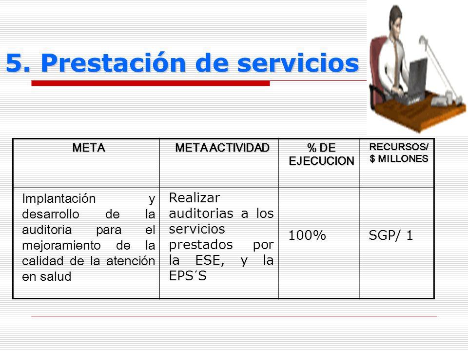 5. Prestación de servicios