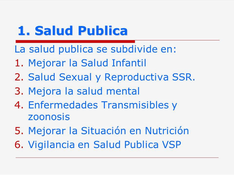 1. Salud Publica La salud publica se subdivide en: