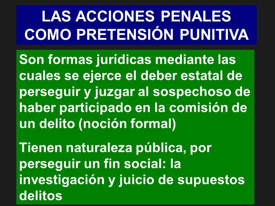 LAS ACCIONES PENALES COMO PRETENSIÓN PUNITIVA