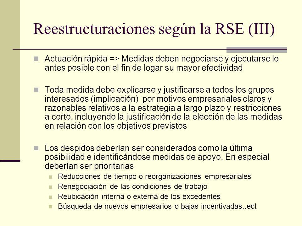Reestructuraciones según la RSE (III)