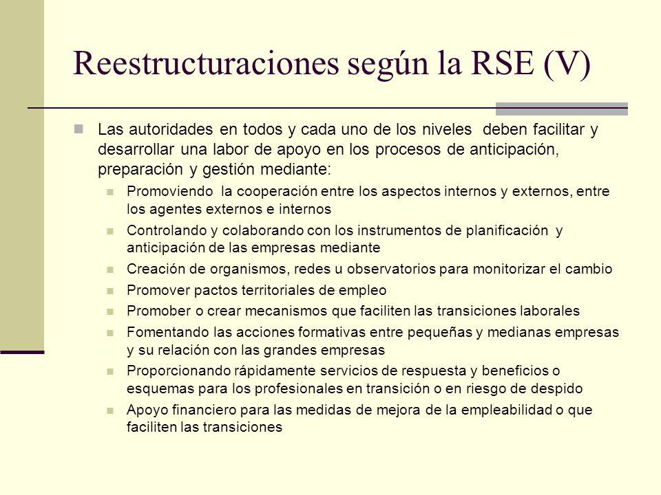 Reestructuraciones según la RSE (V)