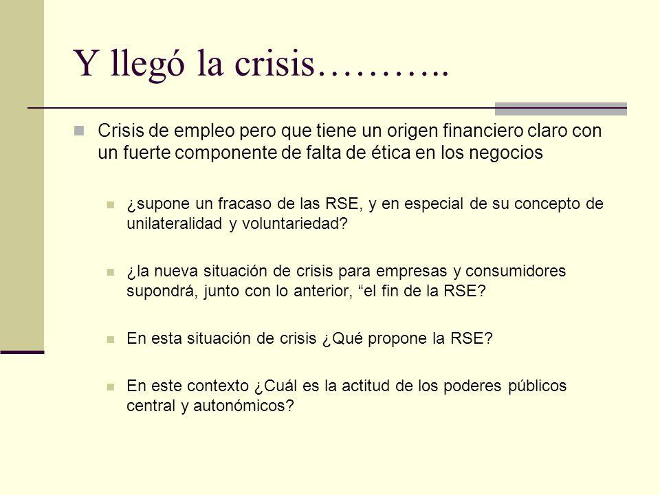 Y llegó la crisis……….. Crisis de empleo pero que tiene un origen financiero claro con un fuerte componente de falta de ética en los negocios.