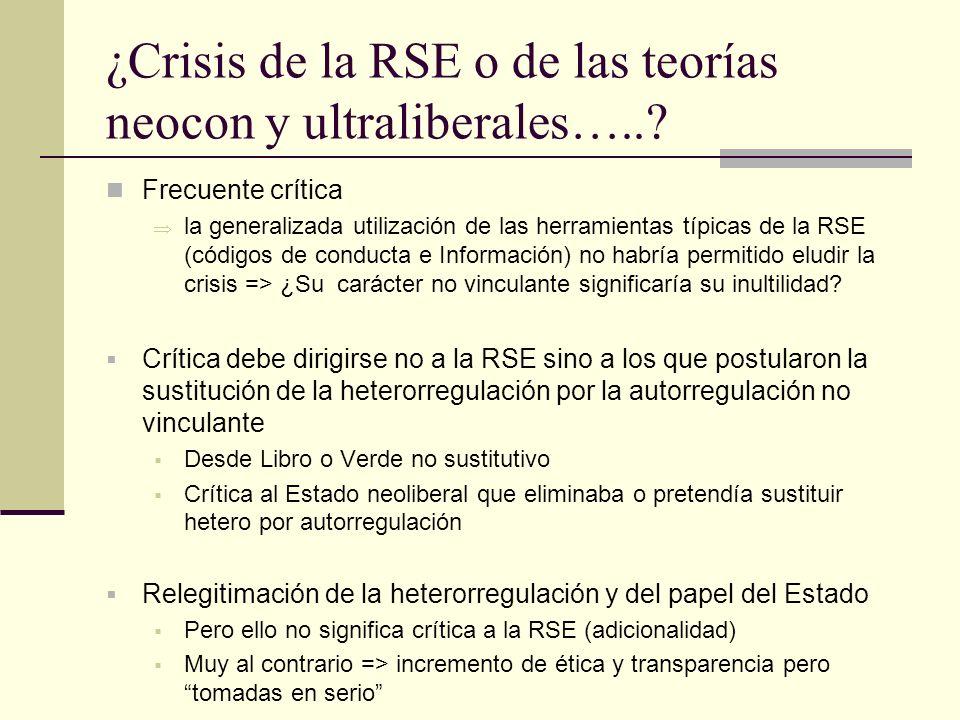 ¿Crisis de la RSE o de las teorías neocon y ultraliberales…..