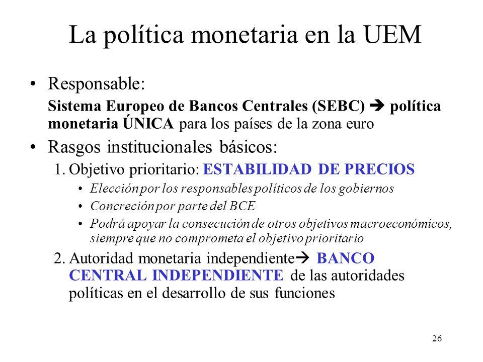 La política monetaria en la UEM