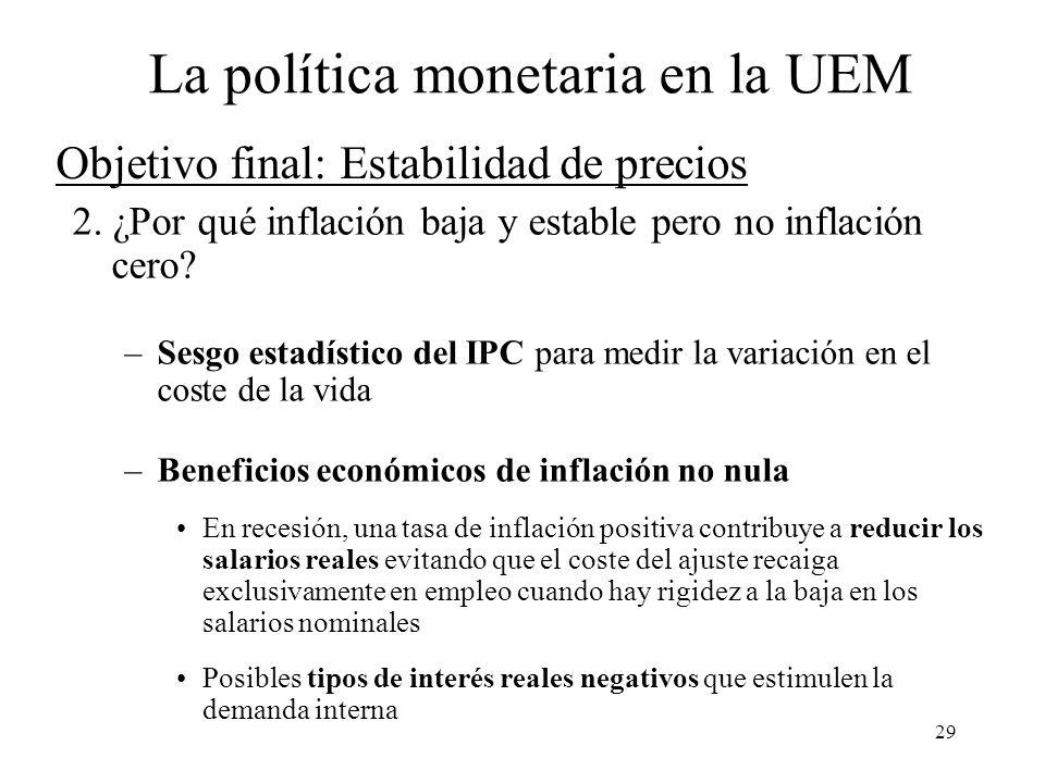 Objetivo final: Estabilidad de precios