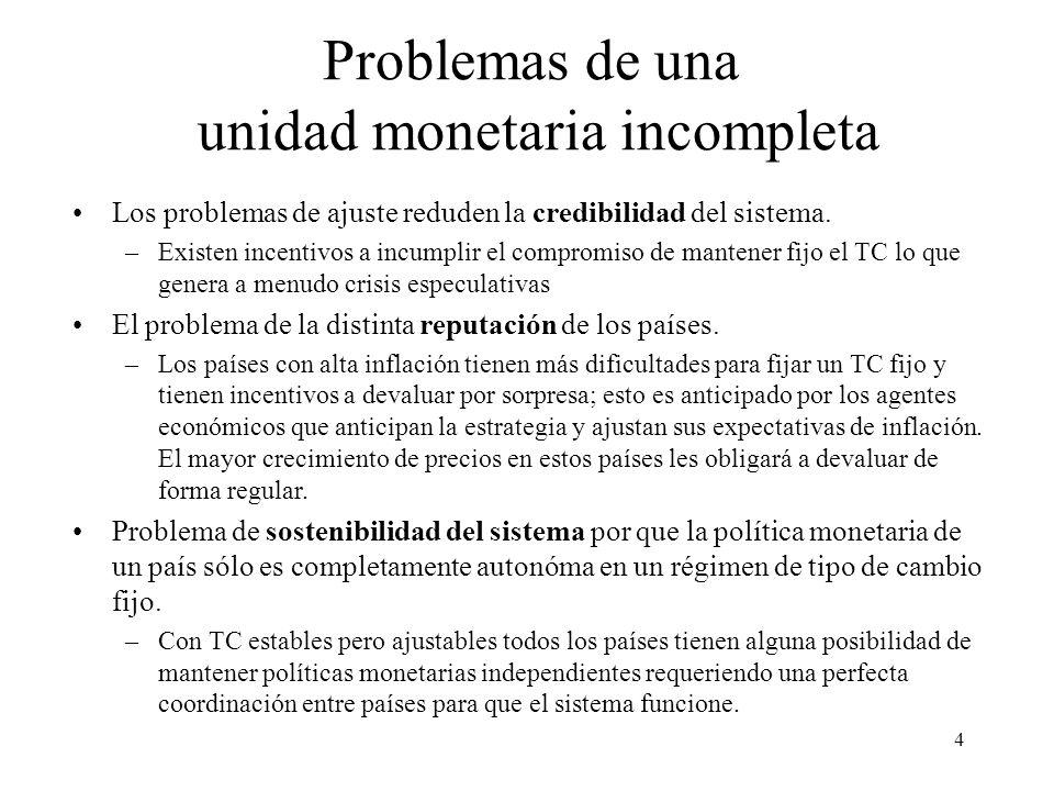 Problemas de una unidad monetaria incompleta
