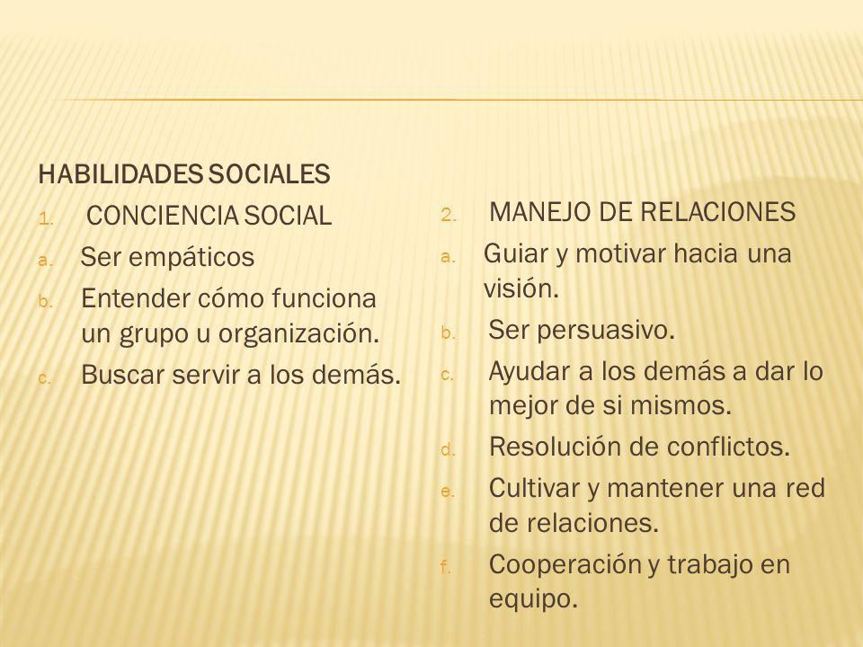 HABILIDADES SOCIALESCONCIENCIA SOCIAL. Ser empáticos. Entender cómo funciona un grupo u organización.
