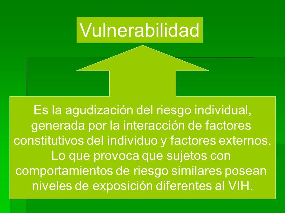 Vulnerabilidad Es la agudización del riesgo individual,