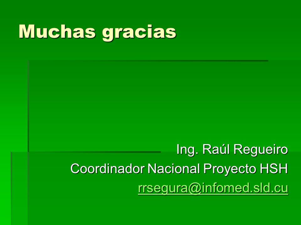 Muchas gracias Ing. Raúl Regueiro Coordinador Nacional Proyecto HSH