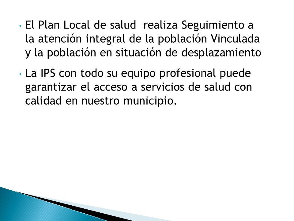 El Plan Local de salud realiza Seguimiento a la atención integral de la población Vinculada y la población en situación de desplazamiento