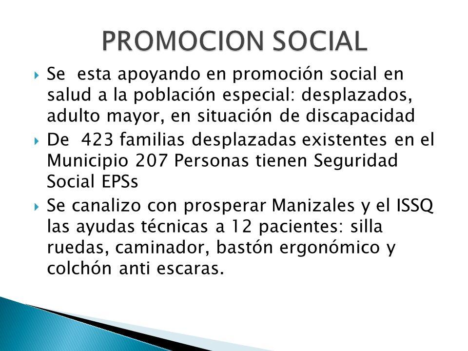 PROMOCION SOCIAL Se esta apoyando en promoción social en salud a la población especial: desplazados, adulto mayor, en situación de discapacidad.