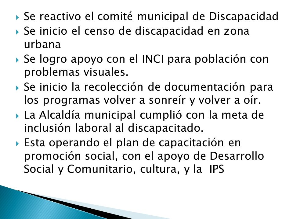 Se reactivo el comité municipal de Discapacidad
