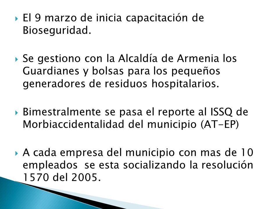 El 9 marzo de inicia capacitación de Bioseguridad.