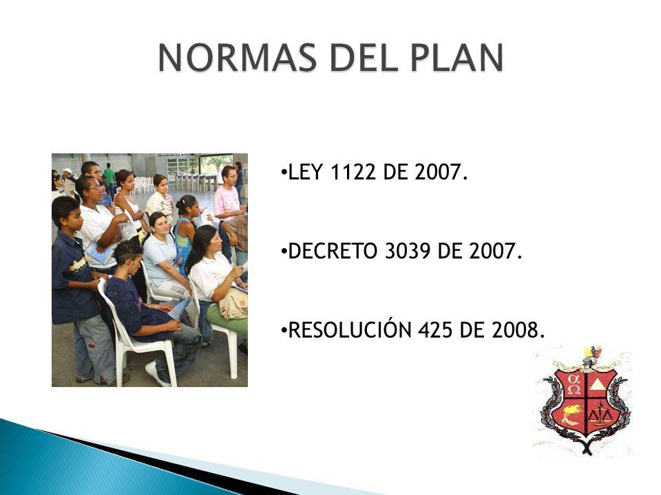 NORMAS DEL PLAN LEY 1122 DE 2007. DECRETO 3039 DE 2007.