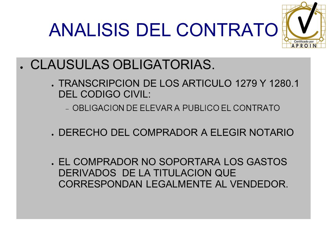 ANALISIS DEL CONTRATO CLAUSULAS OBLIGATORIAS.