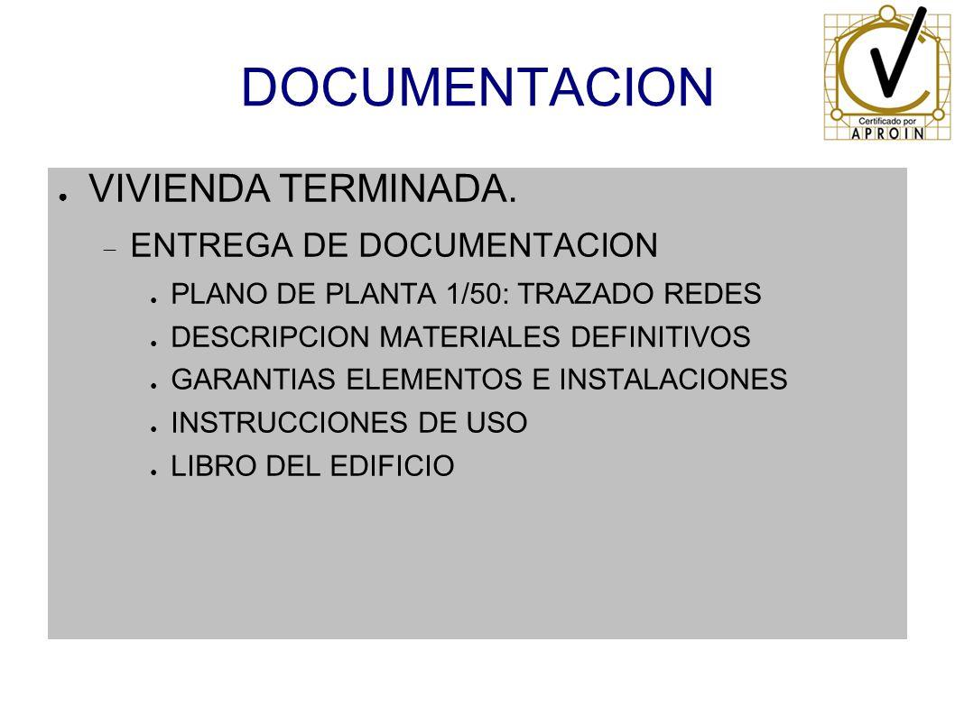 DOCUMENTACION VIVIENDA TERMINADA. ENTREGA DE DOCUMENTACION