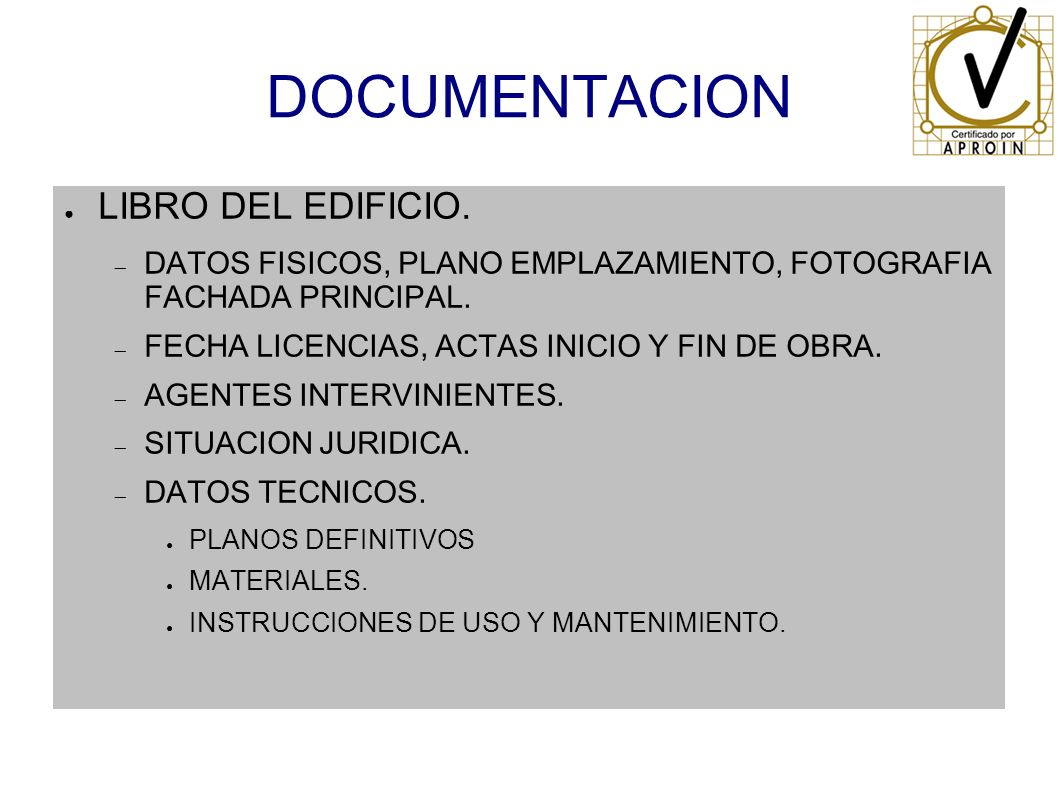 DOCUMENTACION LIBRO DEL EDIFICIO.
