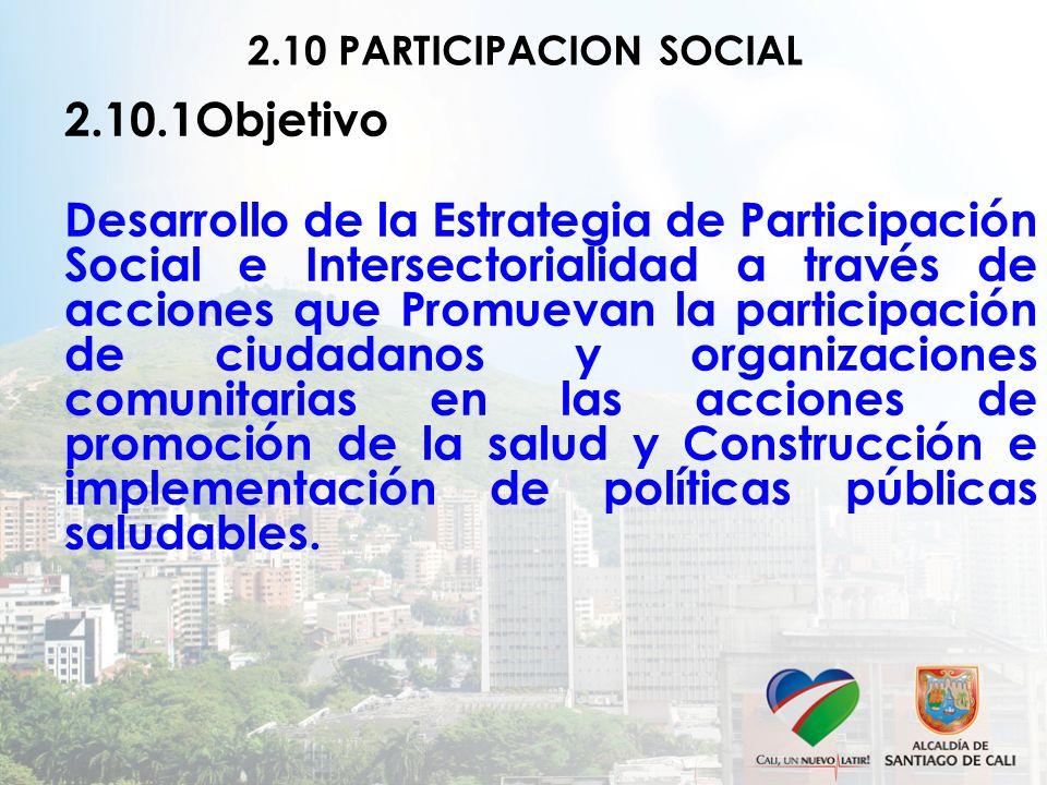 2.10 PARTICIPACION SOCIAL 2.10.1Objetivo.