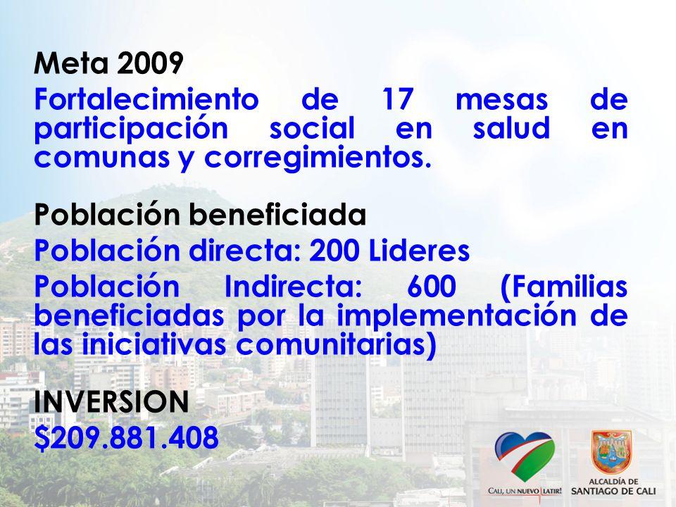 Meta 2009 Fortalecimiento de 17 mesas de participación social en salud en comunas y corregimientos.