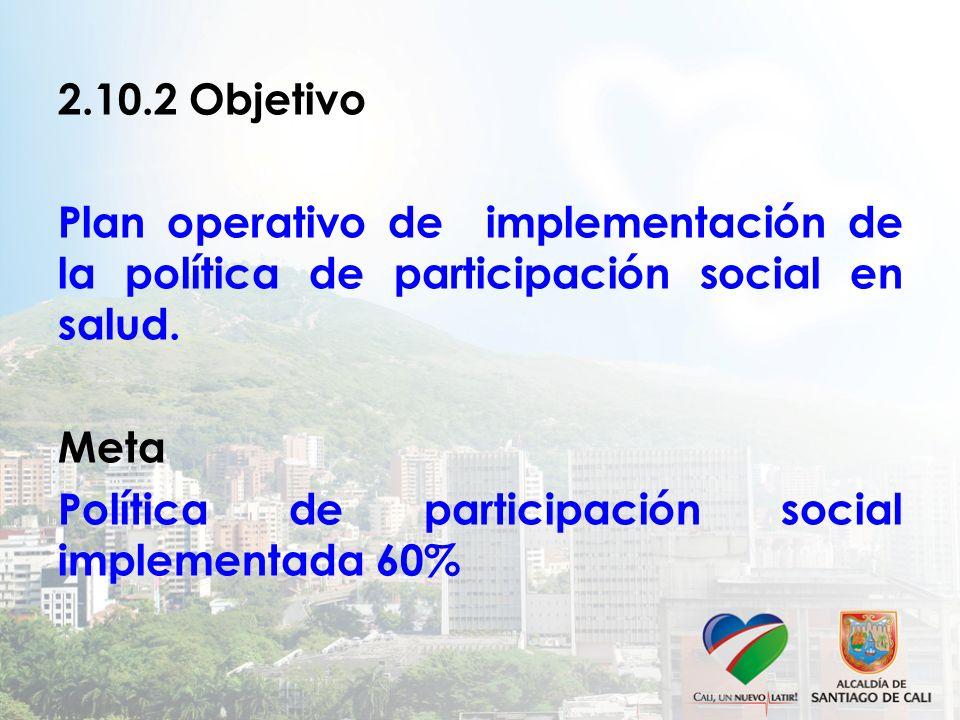 2.10.2 Objetivo Plan operativo de implementación de la política de participación social en salud. Meta.