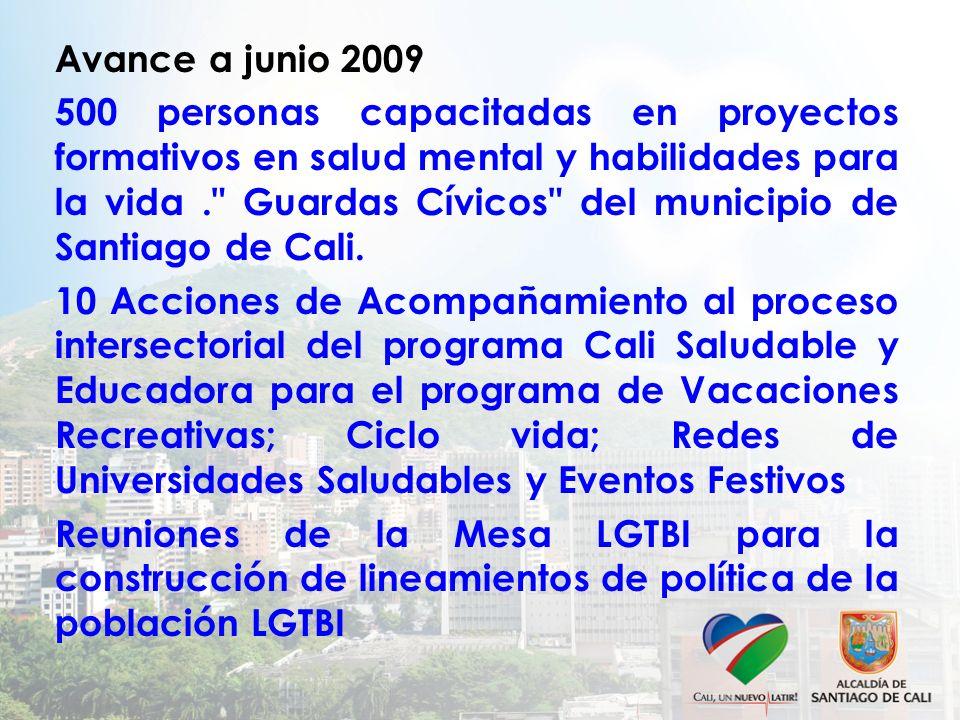 Avance a junio 2009 500 personas capacitadas en proyectos formativos en salud mental y habilidades para la vida . Guardas Cívicos del municipio de Santiago de Cali.