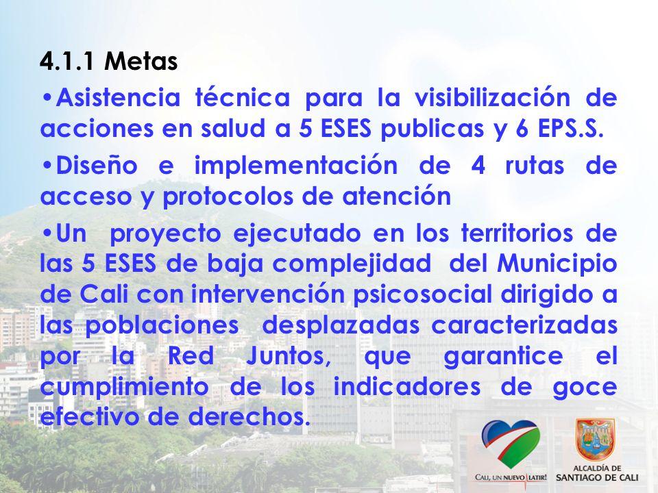 4.1.1 Metas Asistencia técnica para la visibilización de acciones en salud a 5 ESES publicas y 6 EPS.S.