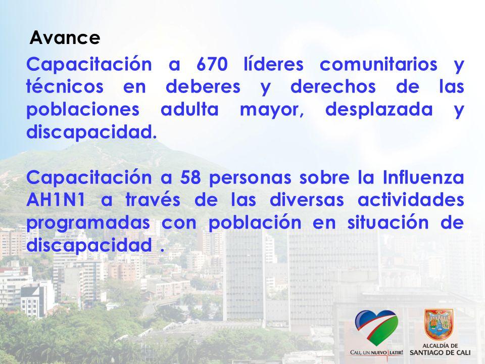Avance Capacitación a 670 líderes comunitarios y técnicos en deberes y derechos de las poblaciones adulta mayor, desplazada y discapacidad.